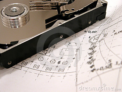 HDD on blue prints Stock Photo
