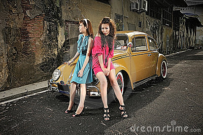 Hdr girl and car