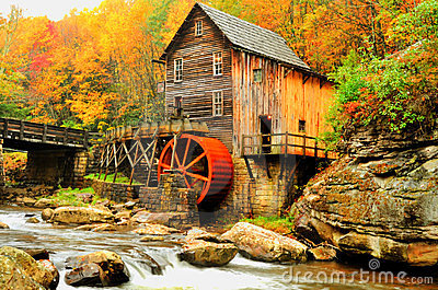HDR Grist Mill in fall colors.