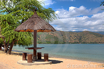 Natural leaf hut on a beach in Dili