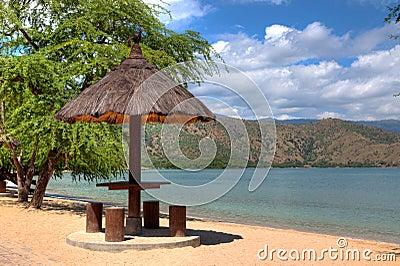 Natural leaf hut on a beach in Dili