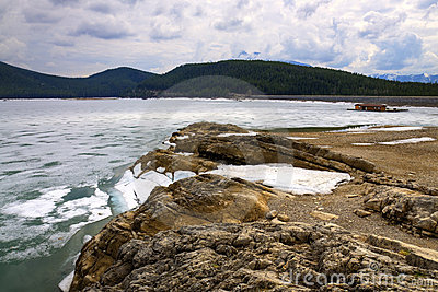 HDR Icy Rocky Shore line