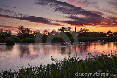 HDR image of lagoon at sunset