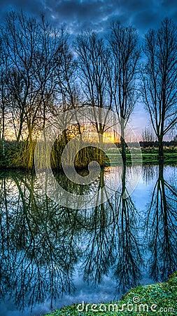 Hdr lake at sunrise