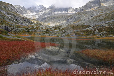 HDR mountain landscape with lake and red reeds