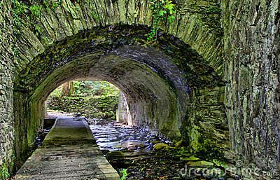 HDR - River Flowing through the Stone Tunnel