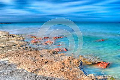 Hdr seashore with motion blur