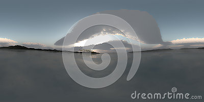 Hdr spherical panorama of sea and islands