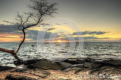 HDR Sunset at Anaehoomalu Bay, Hawaii