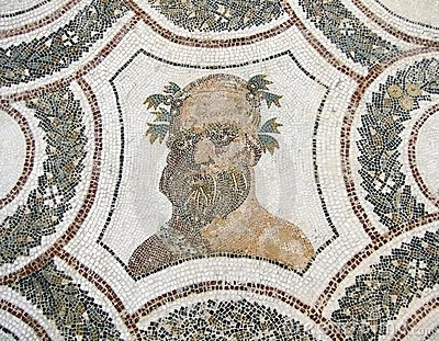 The Head Of Bacchus. Roman Mosaic. Stock Photography - Image: 24030152