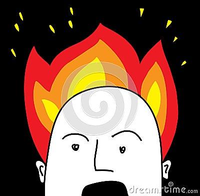Head in blaze