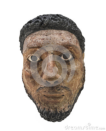 Head bust of Egyptian man isolated