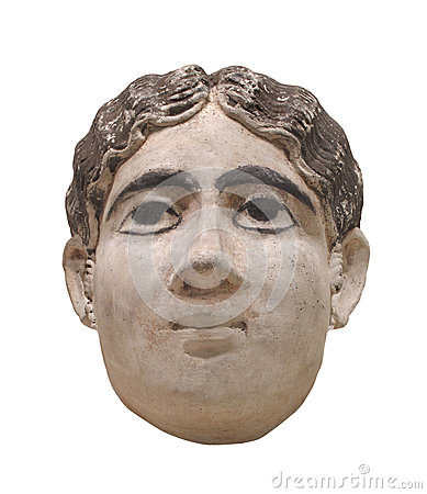 Head bust of Egyptian woman isolated.
