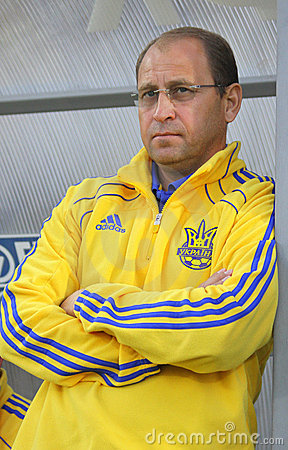 Head coach of Ukraine (U-21) team Pavlo Yakovenko Editorial Stock Photo