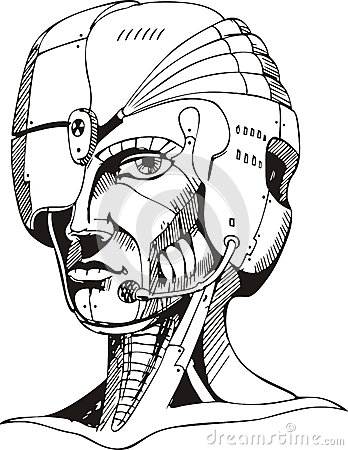 Head of cyborg woman