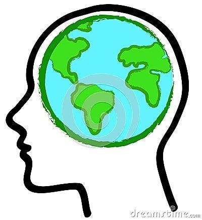 Head and earth globe