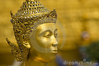 Head of golden Kinnara at Wat Phra Kaeo in Bangkok