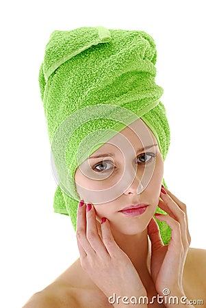 Head in green towel