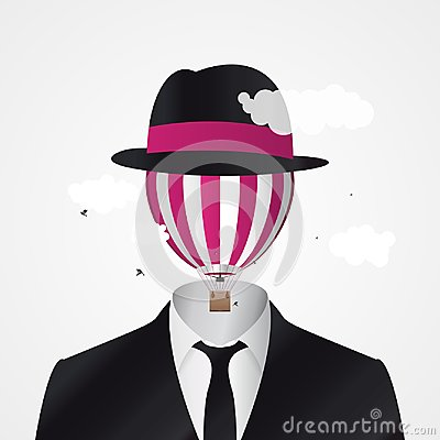 Free Head In The Clouds. Businessman With Hot Air Balloon Stock Photo - 104133070