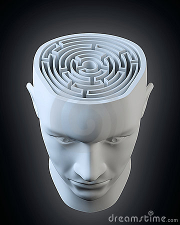 Head with a labyrinth inside