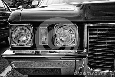 Head lamp Cadillac Coupe de Ville (black and white) Editorial Image