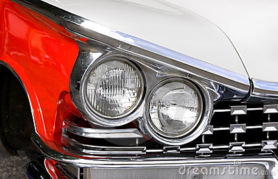 Head Lamps Of A Classic Car