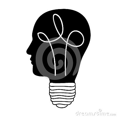 Head and lightbulb abstract wisdom icon image Vector Illustration