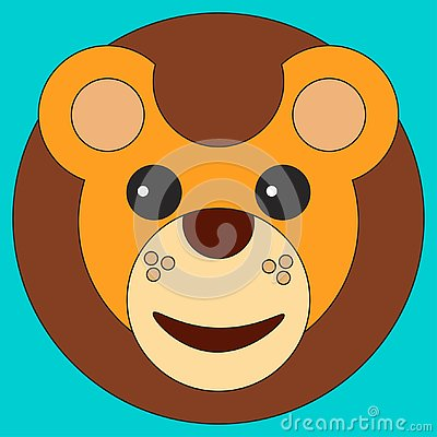 Head of a lion in cartoon flat style Cartoon Illustration