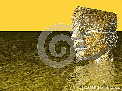 Head of man in water