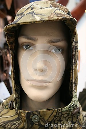Head of mannequin in masking, disguise hood