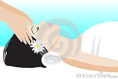 Head massage Vector Illustration