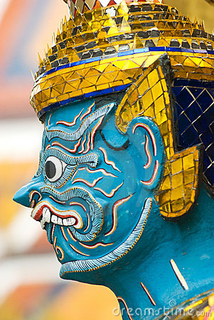 Head of mythical figure at Wat Phra Kaeo