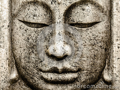 Head of an old buddha statue