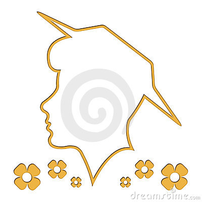 Head outline, silhouette, woman, white background