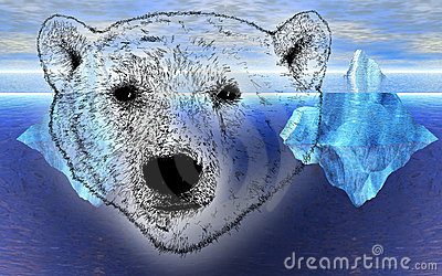 Head of Polar Bear with Icebergs in Background