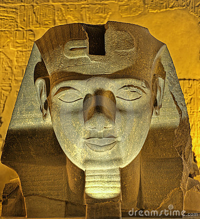 Head of Ramses II at night