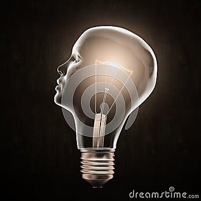 Free Head Shaped Light Bulb Stock Image - 22488721