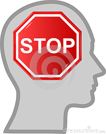 Head with sign stop