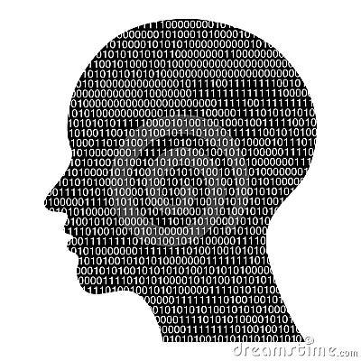 Head silhouette with binary code