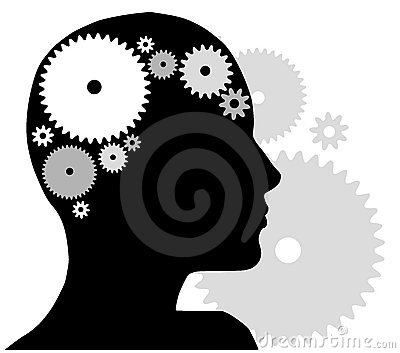 Head Silhouette With Gears Cartoon Illustration