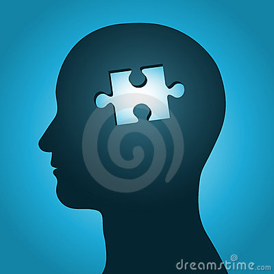 Head silhouette with missing jigsaw puzzle pea