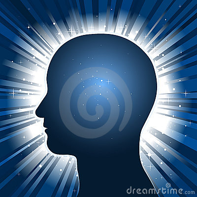 Head silhouette with star burst background