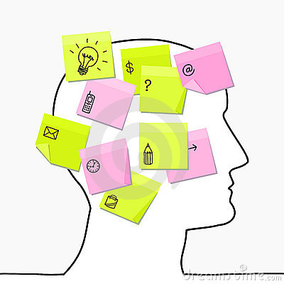 Free Head & Sticky Notes Royalty Free Stock Image - 10014136