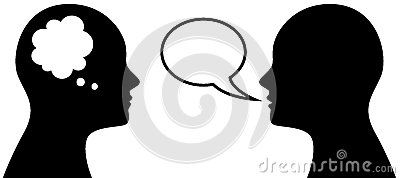 Head symbol with thought and speach bubble