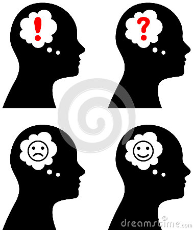 Head with thought or speech bubble