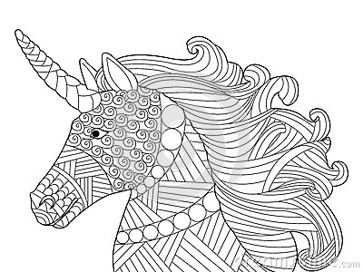 Unicorn Paard Kleurplaat Head Unicorn Coloring Vector For Adults Stock Vector