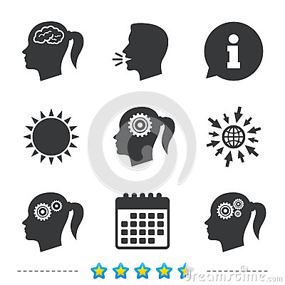 Free Head With Brain Icon. Female Woman Symbols. Stock Photography - 93471472