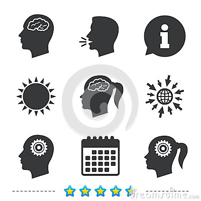 Free Head With Brain Icon. Male And Female Human Symbols. Royalty Free Stock Images - 84850469