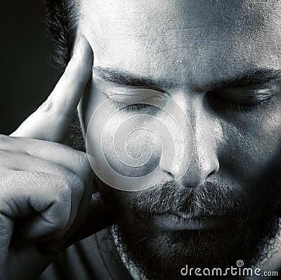 Headache or think meditation concept