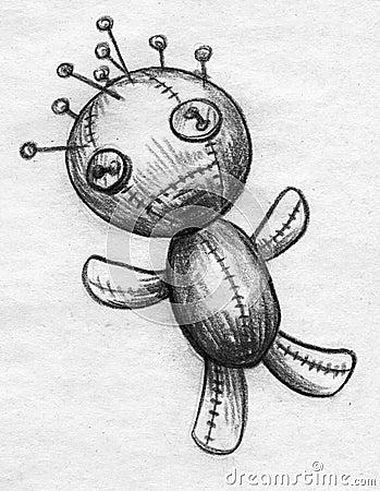 Headache Voodoo Doll Sketch Stock Illustration - Image 49046913